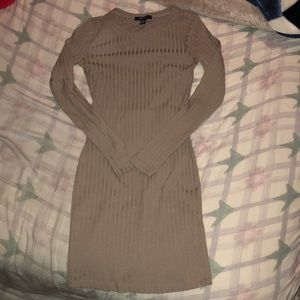 Forever 21 (XS) tight tan long sleeve dress